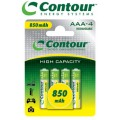 4 Pack - AAA Contour 850 mAh Rechargeable Batteries