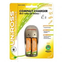 Uniross Compact Charger + 2 x AA 1600 mAh Multi Usage Rechargeable Batteries