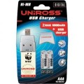 Uniross USB Charger with 2 x AAA Rechargeable Batteries - U0161527