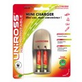 Uniross Mini Charger + 2 x AAA Multi Usage Rechargeable Batteries