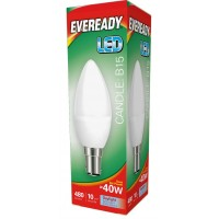 6W (40W Equiv) LED Candle Small Bayonet Light Bulb in Daylight White