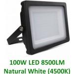 100W Slimline Premium LED Security Floodlight Natural White (Black Case)