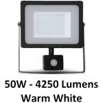 50W Slimline Motion Sensor LED Floodlight - Warm White (Black Case)