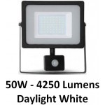 50W Slimline Motion Sensor LED Floodlight - Daylight White 6400K (Black Case)