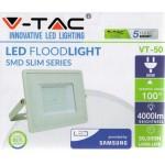 50W Slimline PRO LED Security Floodlight Warm White (White Case)