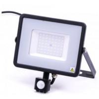 50W Slim Motion Sensor LED Floodlight Daylight White (Black Case)
