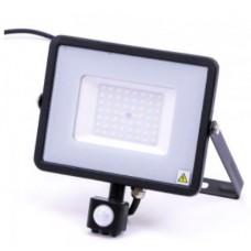 50W Slim Motion Sensor LED Floodlight Daylight White (Black Case)