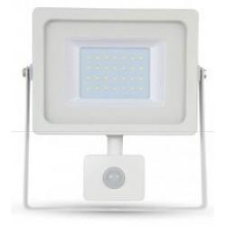30W Ultra Slimline PIR Sensor LED Floodlight Warm White (White Case)