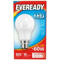 8.2W (60W) LED GLS Bayonet / BC Light Bulb Cool White (4000K) Eveready