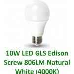 10W (60W) LED GLS Edison Screw Light Bulb - Natural White (4000K)