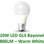 10W (60W) LED GLS Bayonet Light Bulb - Warm White