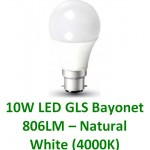 10W (60W) LED GLS Bayonet Light Bulb - Natural White (4000K)