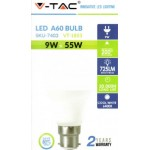 9W (55-60 Watt) LED GLS Bayonet Light Bulb - Daylight Pure White (6400K)