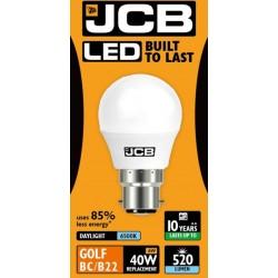 6W (40 Watt) LED Golf Ball - Bayonet Light Bulb in Daylight (6400K)