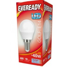 6W (40W) LED Golf Ball Small Edison Screw Light Bulb in Daylight White