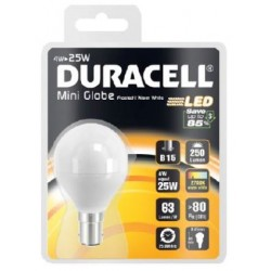 4W (25 Watt) LED Golf Ball Small Bayonet Light Bulb in Warm White by Duracell
