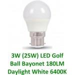 3W (25W) LED Golf Ball Bayonet in Daylight Pure White (6400K)
