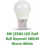 3W (25W) LED Golf Ball Bayonet Light Bulb in Warm White