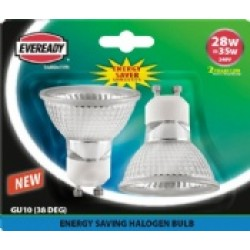 (2 Pack) Halogen 28W (35W Equiv) Energy Saver GU10 Spotlights
