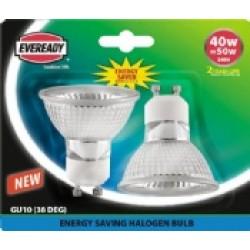 (2 Pack) Halogen 40W (50W Equiv) Energy Saver GU10 Spotlights