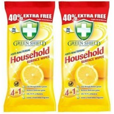 2 Packs of 70 Antibacterial Household Surface Wipes Green Shield 140 wipes