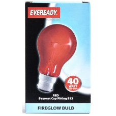 40W Fireglow Red Rough Service GLS Light Bulb by Eveready