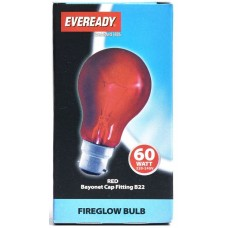 60W Fireglow Red Rough Service GLS Light Bulb by Eveready