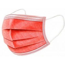 10 x Red Disposable Face Masks 3 Ply Surgical Face Covers