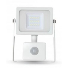 10W Premium LED Motion Sensor Floodlight Natural Cool White 4000K (White Case)