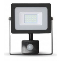 20W Slimline Motion Sensor LED Floodlight - Warm White (Black Case)