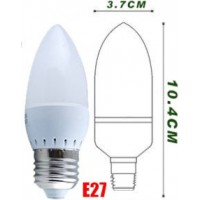 2.5w (25w) LED Candle - Edison Screw Light Bulb in Warm White