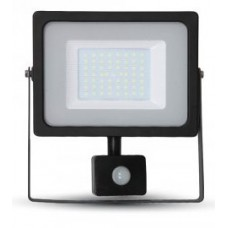 50W Slimline Motion Sensor LED Floodlight Daylight White 6400K (Black Case)