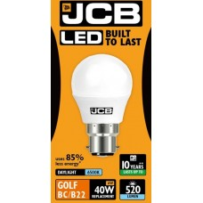 6W (40W) LED Golf Ball Bayonet Light Bulb in Daylight White 6400K