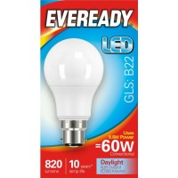 9.6W (60W) LED GLS Bayonet / BC Light Bulb Daylight White (6500K) Eveready