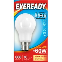 9.6W (60W Equiv) LED GLS Bayonet B22 Light Bulb Warm White