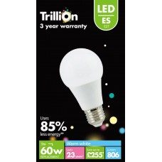 9W (60W) LED GLS Edison Screw E27 Light Bulb Warm White by Trillion