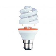 9w (40w) 2 Part Bayonet Spiral Low Energy Light Bulb - Warm White