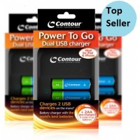 Contour Battery Charger Power 2 Go USB + 2 AA Rechargeable Batteries