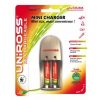 Uniross Mini Battery Charger + 2 x AAA Multi Usage Rechargeable Batteries