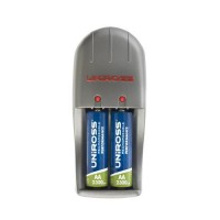 Uniross Performance Mini Charger + 2 x AA 2300mA Rechargeable Batteries